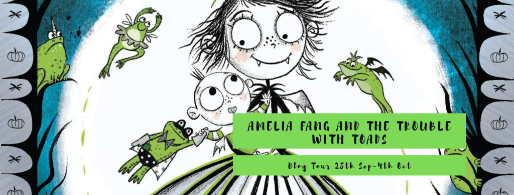 Amelia Fang, Amelia Fang and the Trouble With Toads, Green, Banner, Fantasy, Siblings, Brother, Baby, Girl, Moon, Lilypad, Pumpkin, Children's Books, Laura Ellen Anderson