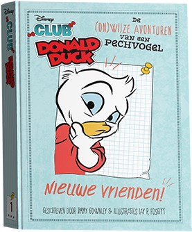 Club Donald Duck : Nieuwe Vrienden, De Onwijze avonturen van een pechvogel, Donald Duck, Duck, Red Shirt, Blue, Children's Books, Humour, Funny, Friendship, Boarding School, Children's Books, Illustrations, Graphic Novel-ish, Jimmy Gownley, Jay P. Fosgitt