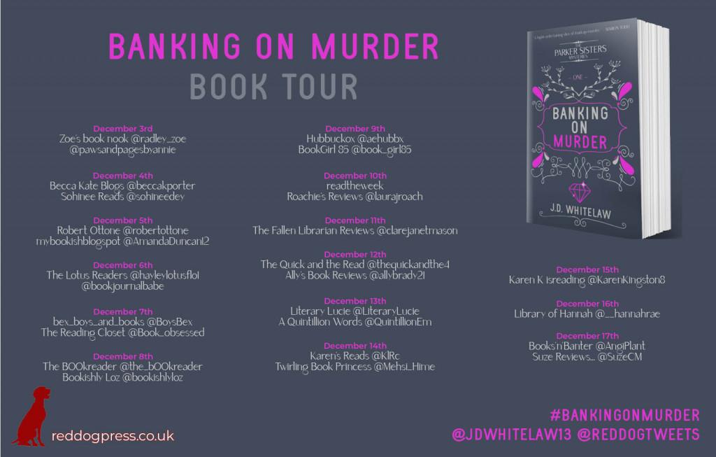 Banking on Murder, Purple, Gray, J.D. Whitelaw, Murder, Mystery, Cosy Mystery