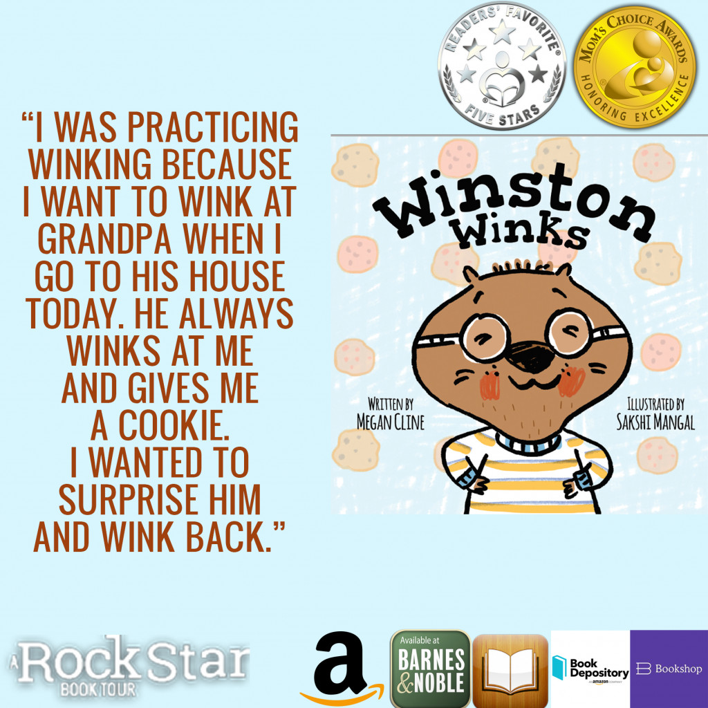 Winston Winks, Megan Cline, Sakshi Mangal, Picture Book, Children's Books, Wombat, Winking, Gold, Silver, Cookies, Glasses, Sweater, Excerpt