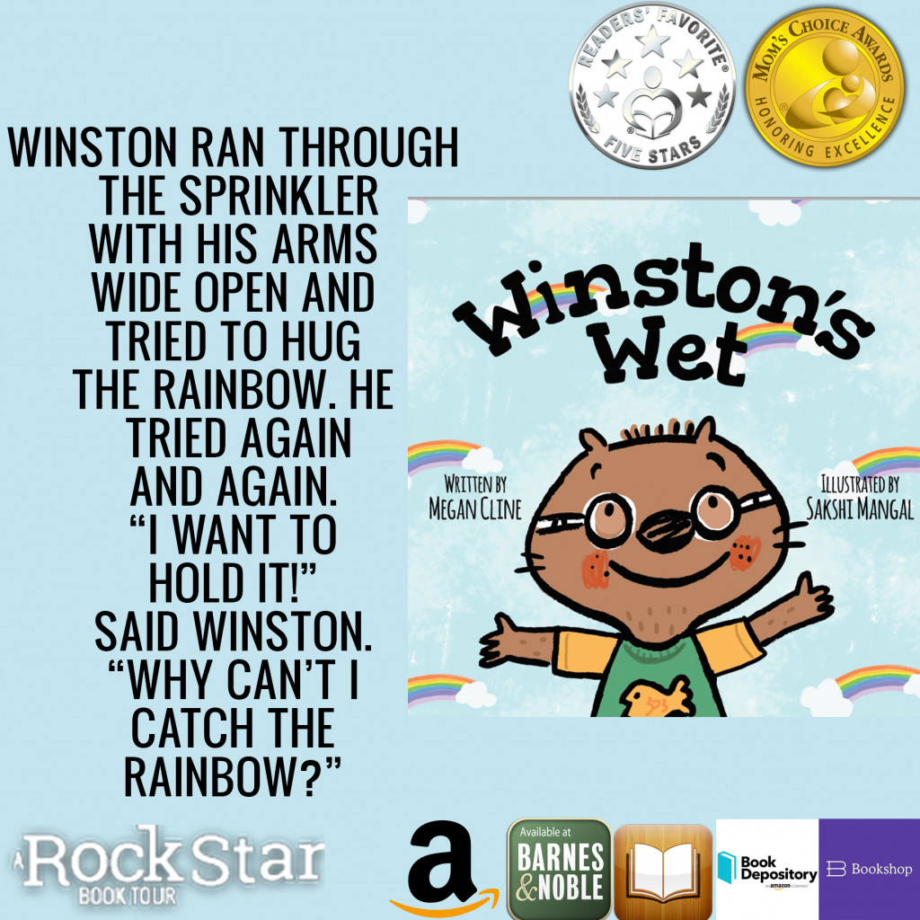 Megan Cline, Sakshi Mangal, Wiggling,Shirt, Rainbows, Blue, Wombat, Glasses, Children's Books, Excitement, Field Trip, Animals, Picture Book, Winston's Wet