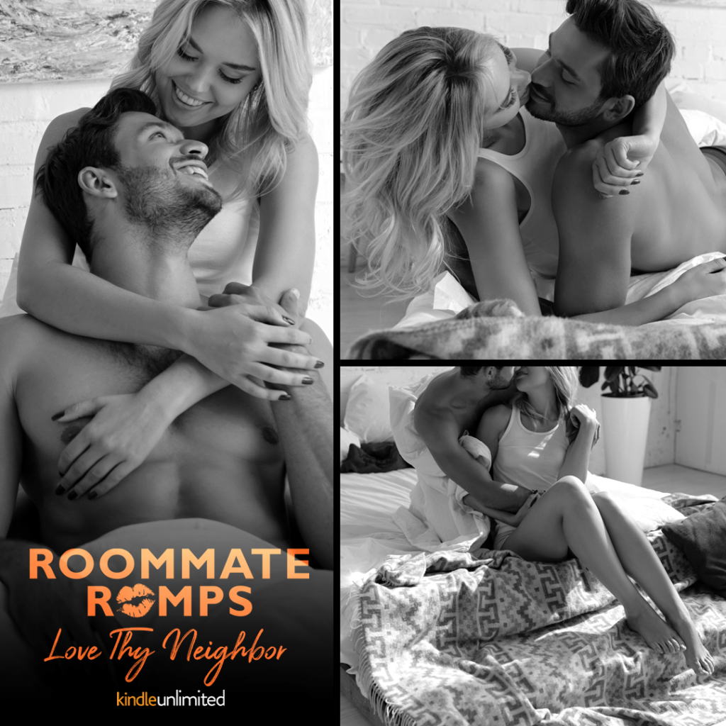 Roommate Romps, Love Thy Neighbour, Roommates, Friends, Romance, Orange Font, Halfnaked Guy, Swoon, Teagan Hunter, Hugging, Love, Black/White, Woman