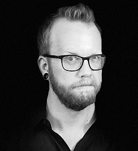 Sam Hooker, Beard, Glasses, Black/white, Author, Photograph