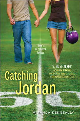 Catching Jordan, Romance, Young Adult, Football Field, Helmet, Girl, Boy, Holding Hands, Miranda Kenneally, Hundred Oaks