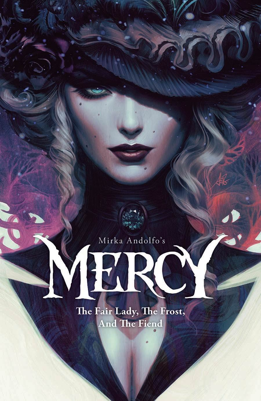 Mercy, Mirka Andolfo's Mercy: The Fair Lady The Frost and the Fiend, Mystery, Graphic Novels, Comics, Woman, Hat, Blonde Hair, Blue Eyes, Gore, Blood, Murder, Romance, Monsters