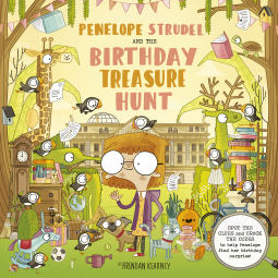 Penelope Strudel And the Birthday Treasure Trail, Brendan Kearney, Children's Books, Birthday, Search/Find, Humour, Animals, House, Puzzles, Codes, Girl, HOuse, Yellow, Fun