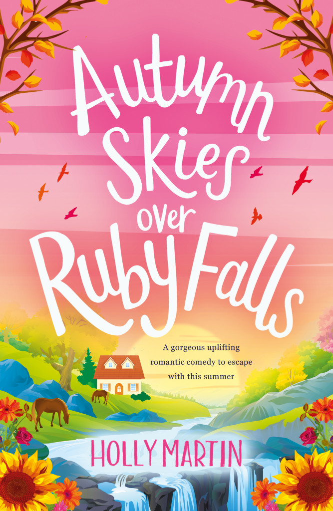 Autumn Skies Over Ruby Falls, Romance, Jewel Island, Holly Martin, Cover Love, Hotel, Pink, Waterfall, House, Horses